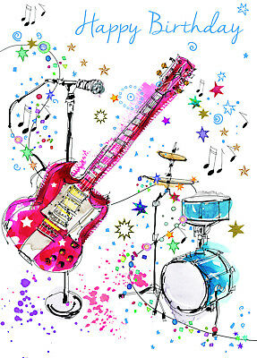 Fantastic Colourful Musical Instruments Happy Birthday Greeting Card