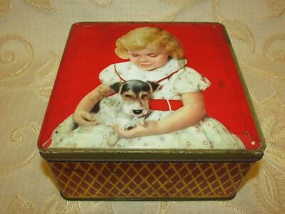 Vintage W. & R. Jacob & Co.  ' Child With Dog ' Biscuit Tin
