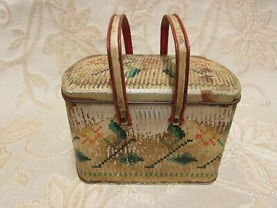Vintage Gray Dunn Biscuits ' Basket' Tin