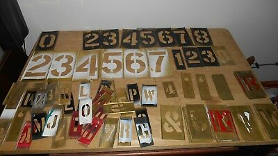large lot of Reese's Adjustable Lockedge Brass Stencils,Letters,Symbols,numbers
