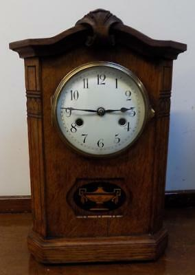 hac oak cased mantel clock c1900s