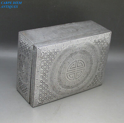 ANTIQUE CHINESE SOLID SILVER INLAYED WIRE WORKED BOX, 842g QING DYNASTY c1910