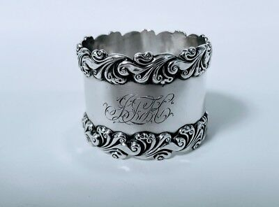 Wonderful Heavy Art Nouveau Wide Embossed Napkin Ring Sterling Silver