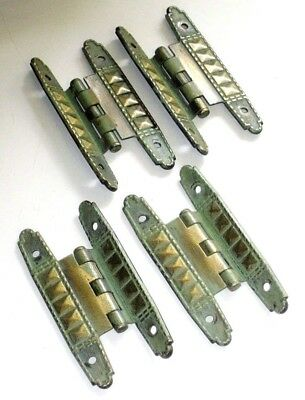 "Antique / OLD Vintage Lot of 4 Small 3.25"" Long Ornate Brass Plate Steel Hinges"