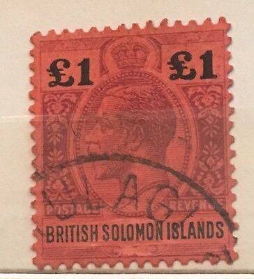 British Soloman Islands 1914 SG 38 £1 Very Fine used - clear Tulagi postmark