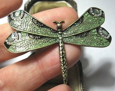 Gorgeous Vintage Art Nouveau Style Enamel Dragonfly Seed Pearl Brooch Shawl Pin