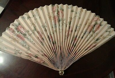 Floral oriental folding wall fan, art, decor, 40""