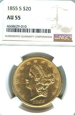 1855 S $20 Gold Piece Double Eagle NGC AU 55 In Grade Early Type 1