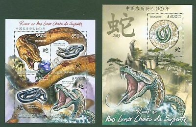 Guinea Bissau 2012 - Schlangen - Year of the snake - Zodiac Astrologie China **