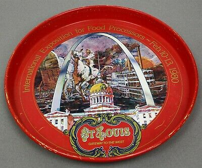 """1980 St Louis International Exposition For Food Processors 12"""" Tin Litho Tray"""
