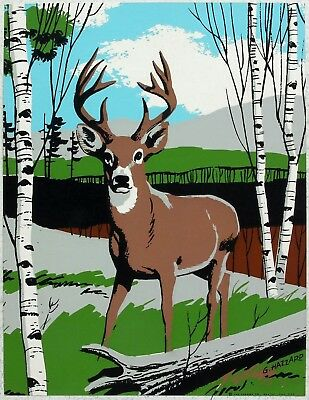 "1960's CALENDAR ART 7"" x 9"" LITHOGRAPH PRINT 8-POINT BUCK DEER Signed G. HAZZARD"