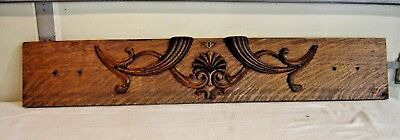 Antique Quarter-Sawn Oak Pediment-Salvage  Drawer front with applied carving 314