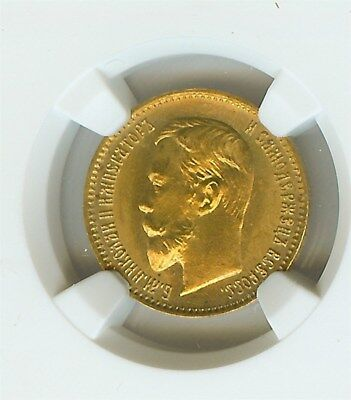 Russia 1904-Ap Gold 5 Roubles  Ngc Ms66