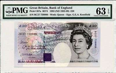 Bank of England Great Britain  20 Pounds 1993(ND 1993-99)  PMG  63EPQ