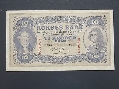 1939 NORWAY Norges Bank 10 Kroner Guld banknote Scarce