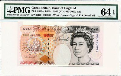 Bank of England Great Britain  10 Pounds 1993 Low S/NoDD01 000089 PMG  64EPQ