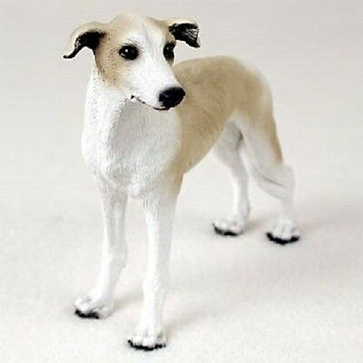 GREYHOUND Tan White Dog HAND PAINTED FIGURINE Resin Statue COLLECTIBLE Puppy NEW