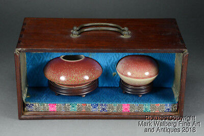 Chinese Peach Bloom Glazed Porcelain Water Pot & Paste Box, Republic or Earlier