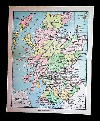 Lovely Antique Atlas Map of Scotland:  Rail Lines Roads Bright Color Very Clean