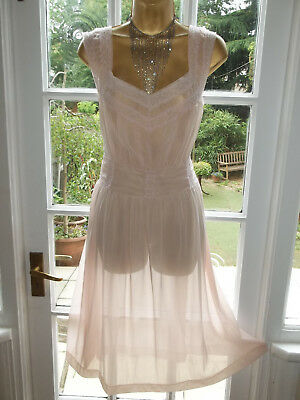 """Vintage 1960s Ultra Sheer Gathered Nylon Lacy Nightie Nightdress Gown 40"""""""