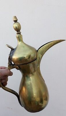 Massive Antique Dallah/coffee Pot-Middle Eastern/islamic-Brass With Makers Seal*
