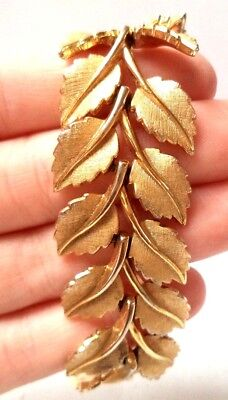 "Stunning Vintage Estate Signed Crown Trifari Flower Leaf 8"" Bracelet!!! 9770E"