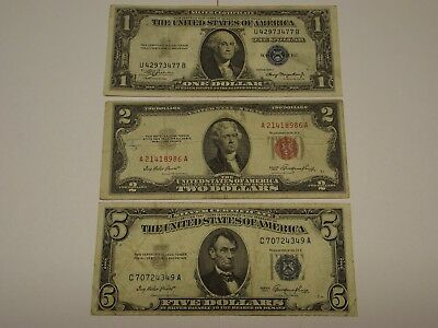 1953 $5.00, 1935-A $1.00 Silver Certificates & 1953 $2.00 United States Note