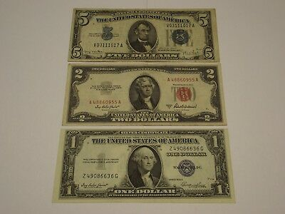 1934-D $5.00, 1935-E $1.00 Silver Certificates & 1953-A $2.00 United States Note