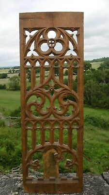SUPERB MID 19thc GOTHIC OAK CARVED TRACERY CHURCH PANEL C.1860's