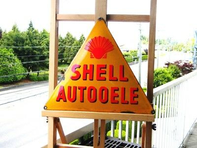 """SHELL AUTO OELE OLD PORCELAIN METAL SIGN ~12"""" x 10-1/2'' GAS OIL PUMP LUBESTER"""