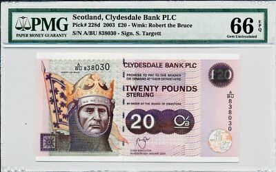 Clydesdale Bank PLC Scotland  20 Pounds 2003  PMG  66EPQ