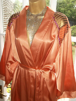 Vtg Style Camille Slippery Satin Embroidered Night Robe Gown UK22-24 Tall Girl