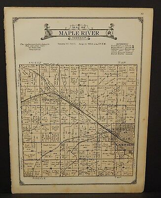 Iowa Carroll County Map Maple River Township 1923  W20#40