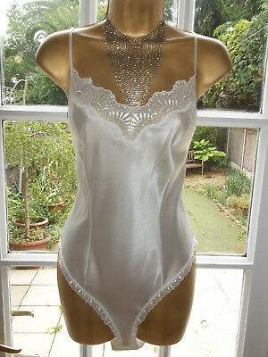 Vintage 80s St Michael Slippery Sensual Satin Lacy Body Teddie Playsuit UK18