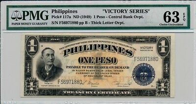 Central Bank of The Philippines  1 Peso ND(1949) Victory Series PMG  63EPQ