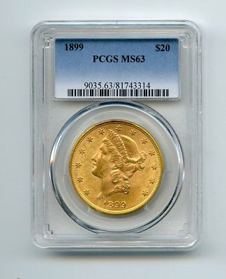 1899 $20 Liberty Head Gold Double Eagle (MS 63) PCGS