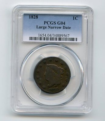 1828 Coronet Large Cent (Large Narrow Date) PCGS G 04