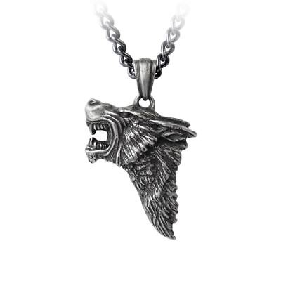 Alchemy Gothic Dark Wolf Profile Snarling Antiqued Pewter Pendant On Chain