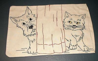 Vintage Small Child Size Pillow Case Scottie Dog And Cat Embroidery