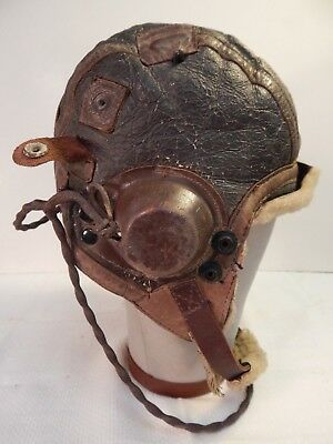 WWII U.S. Army Air Force, Type B-6 Leather Flying Helmet, Full Electronics,SZ LG