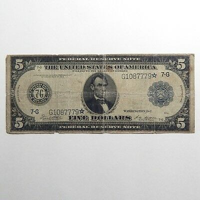 1914 $5 Federal Reserve Large Size ☆ Star Note Good A4962