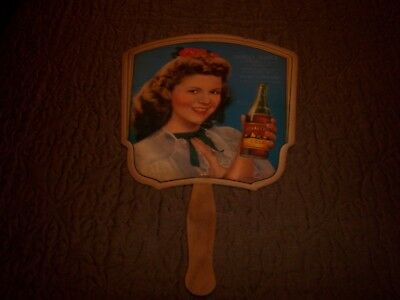 DRUG STORE - Royal Crown Cola Shirley Temple Paper Hand Held Fan