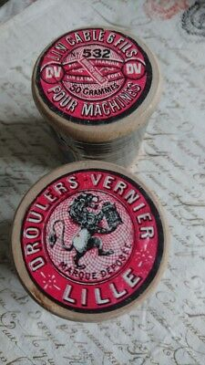 2 SUPERB WOODEN SPOOLS ANTIQUE FRENCH LINEN THREAD c1910 DROULERS LILLE