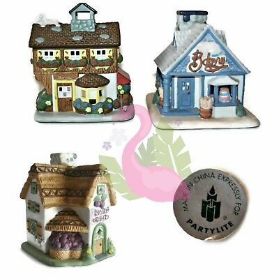 PARTYLITE Tealight Candle Holders (3) Orchard Cottage Village Bakery Flowers