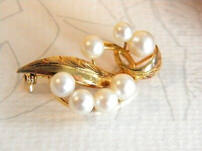 beautiful Cultured PEARLS sterling silver brooch ~ gold on silver ~