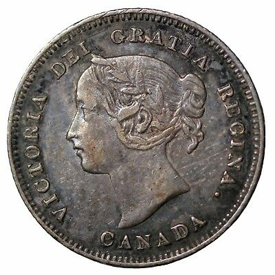 1901 Canada Silver Five 5 Cents Queen Victoria Canadian British Coin KM#2