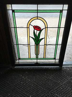 """1 Antique 1920s Chicago Bungalow Stained Leaded Glass Window 33"""" by 28"""""""