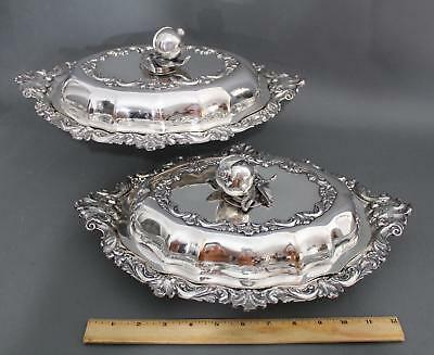 Pr Antique T & J Creswick Sheffield Silverplate Vegetable Serving Warming Dishes