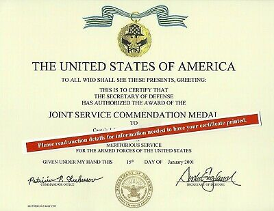 Joint Service Commendation Medal Certificate