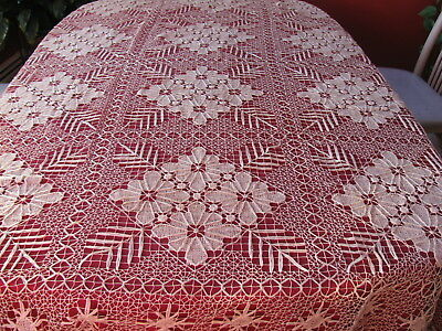 """Antique Dark Ecru Knotted Tablecloth 74"""" by 94"""""""